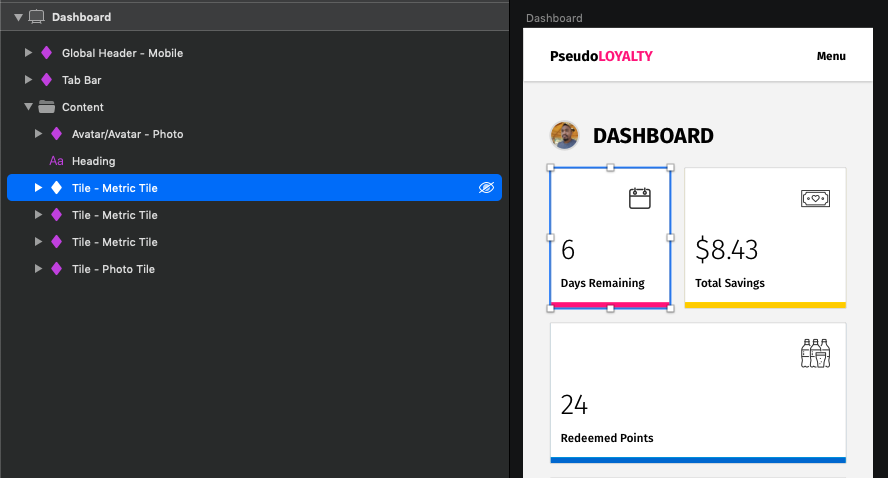 Example of consistent 'component' naming in the Sketch design document created for this article.